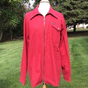 Dolce & Gabbana Red Flannel Zip Up Shirt Jacket